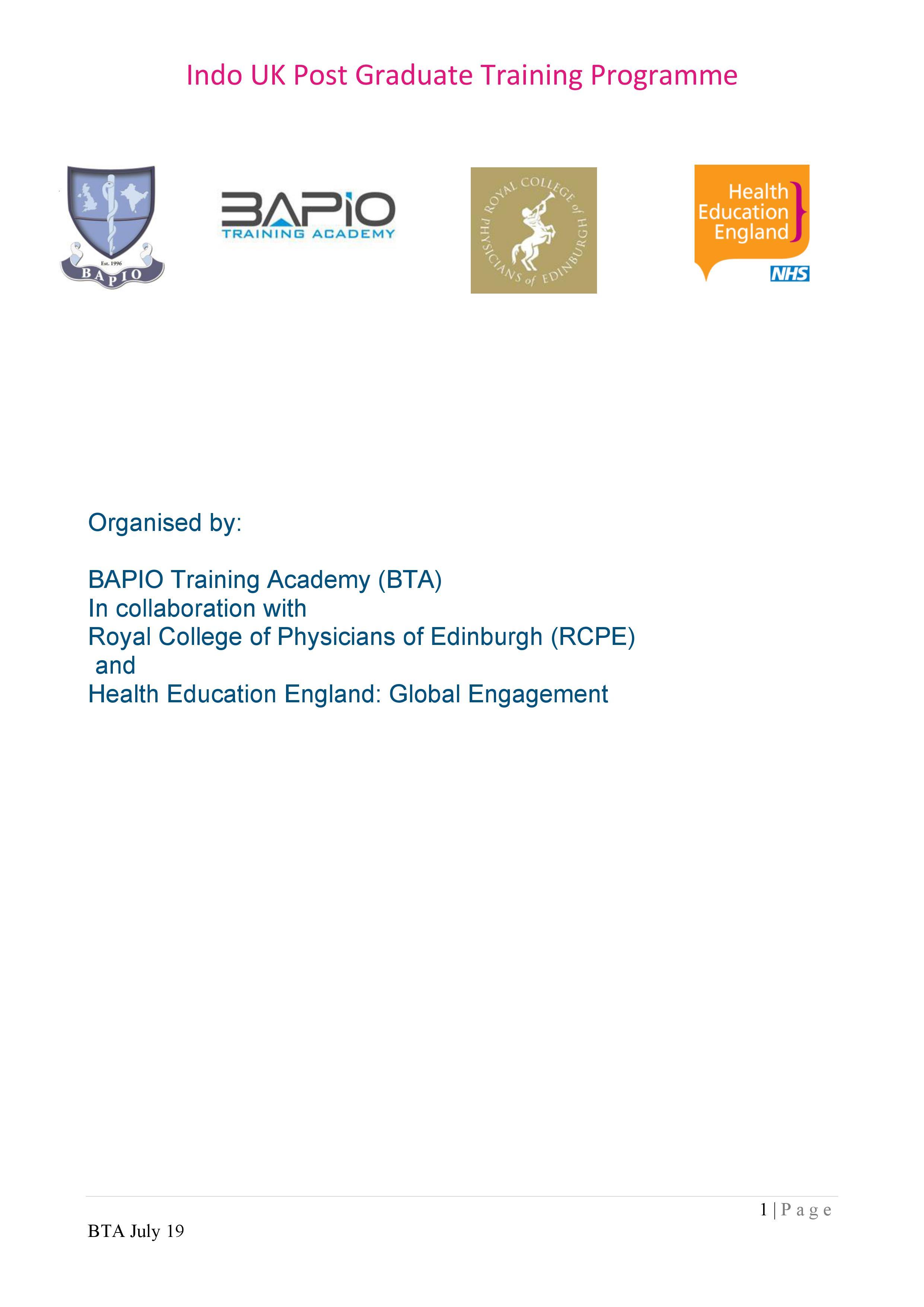 Indo UK PG Programme