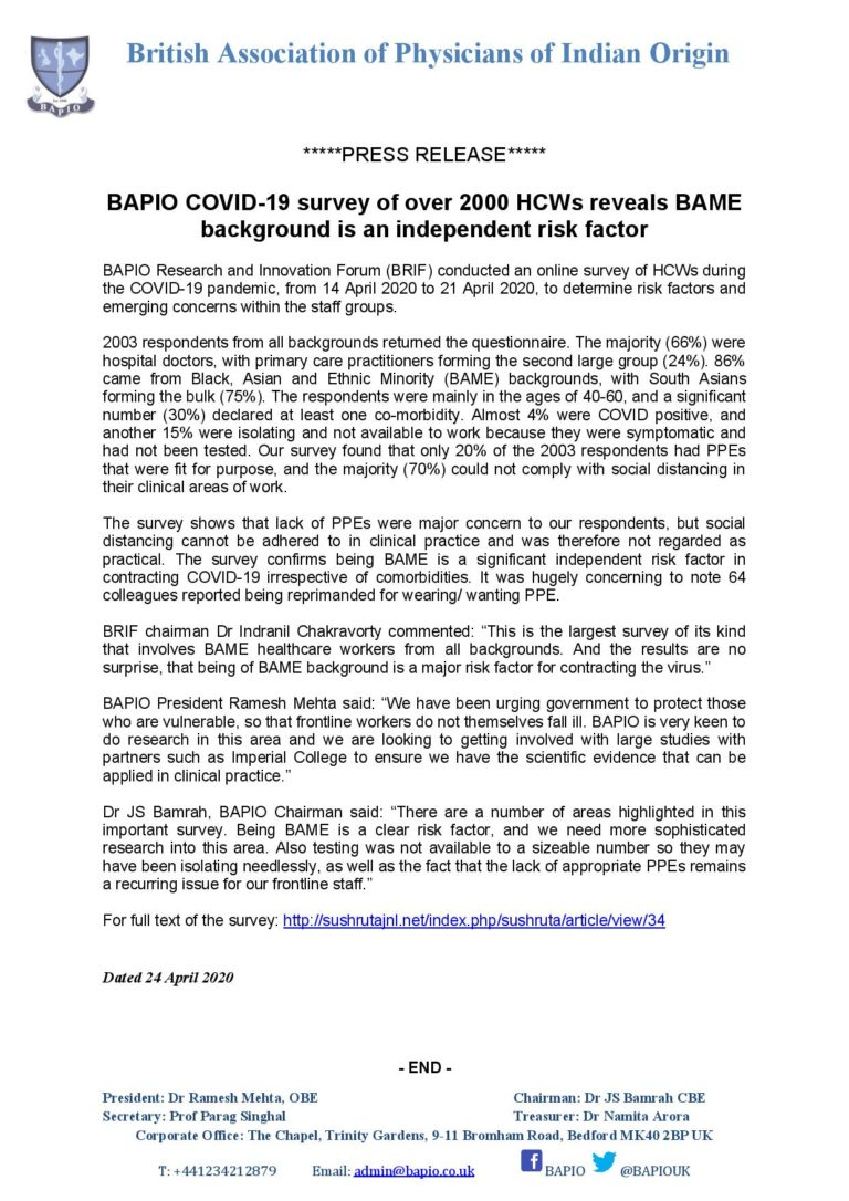 Press Release - BRIF COVID survey